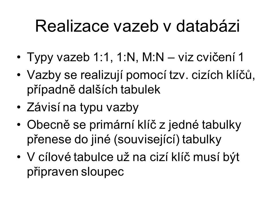 Realizace vazeb v databázi Typy vazeb 1:1, 1:N, M:N – viz cvičení 1 Vazby se realizují pomocí tzv. cizích klíčů, případně dalších tabulek Závisí na ty