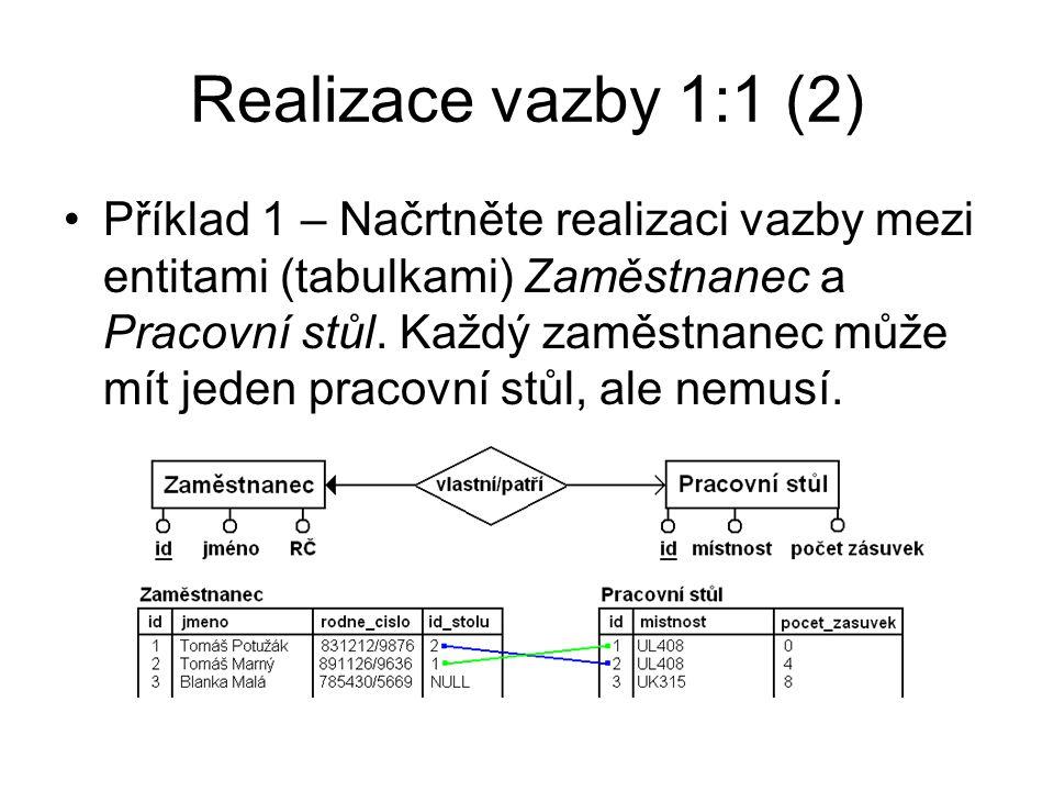 Realizace vazby 1:1 (2) Příklad 1 – Načrtněte realizaci vazby mezi entitami (tabulkami) Zaměstnanec a Pracovní stůl. Každý zaměstnanec může mít jeden