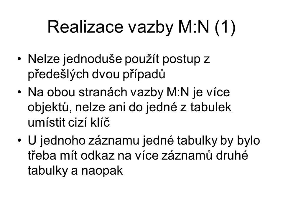 Realizace vazby M:N (2) Např.
