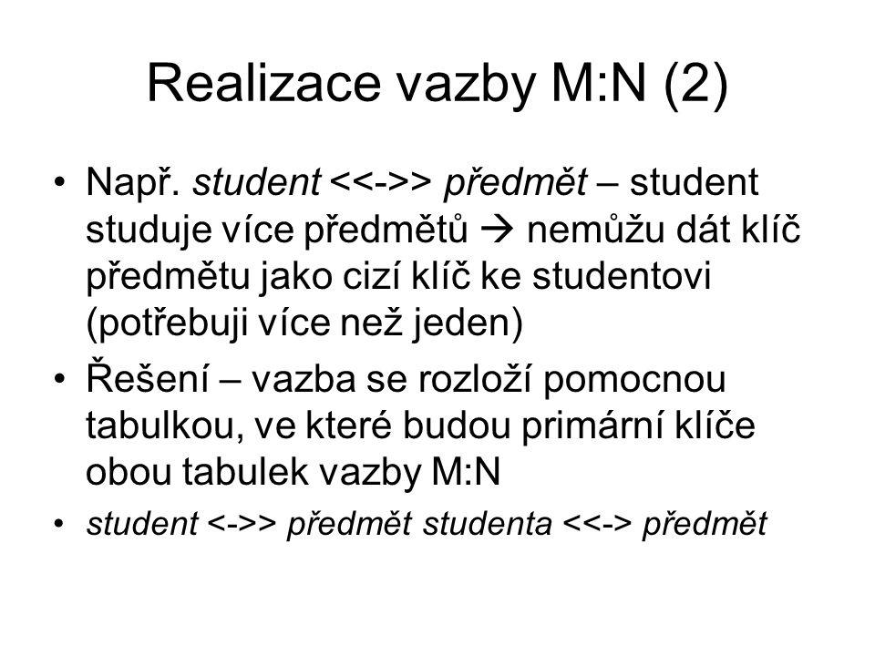 Realizace vazby M:N (2) Např. student > předmět – student studuje více předmětů  nemůžu dát klíč předmětu jako cizí klíč ke studentovi (potřebuji víc