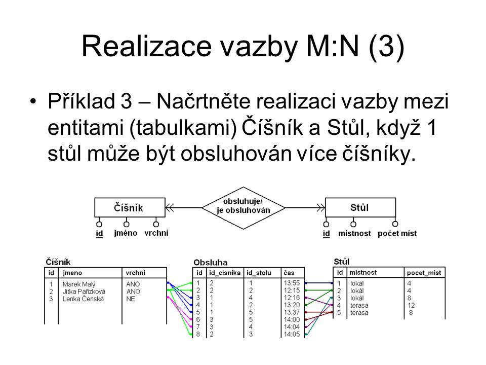 Realizace vazeb – příklady (1) Příklad 4 – Nakreslete ERA model a načrtněte realizaci vazeb v databázi pro entity Student, Semestrální práce v předmětu KIV/ZIS Příklad 5 – Nakreslete ERA model s vazbou M:N, po rozkladu vazby M:N a načrtněte realizaci vazeb v databázi pro entity Jídlo a Ingredience