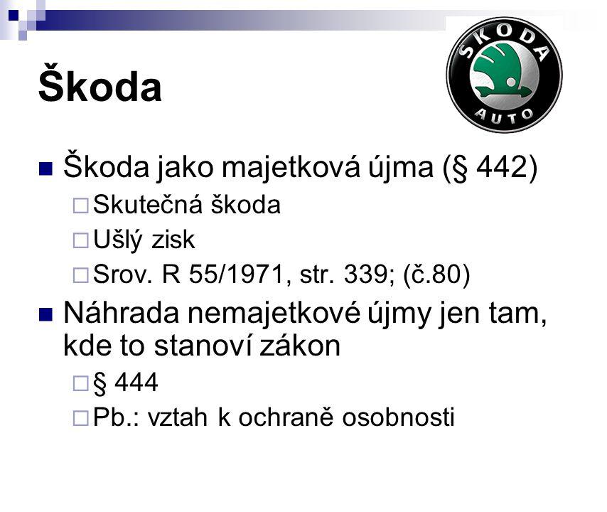 Škoda Škoda jako majetková újma (§ 442)  Skutečná škoda  Ušlý zisk  Srov. R 55/1971, str. 339; (č.80) Náhrada nemajetkové újmy jen tam, kde to stan