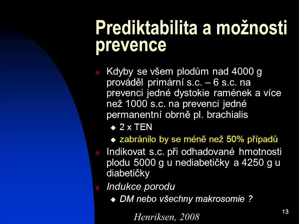 13 Prediktabilita a možnosti prevence Kdyby se všem plodům nad 4000 g prováděl primární s.c. – 6 s.c. na prevenci jedné dystokie ramének a více než 10
