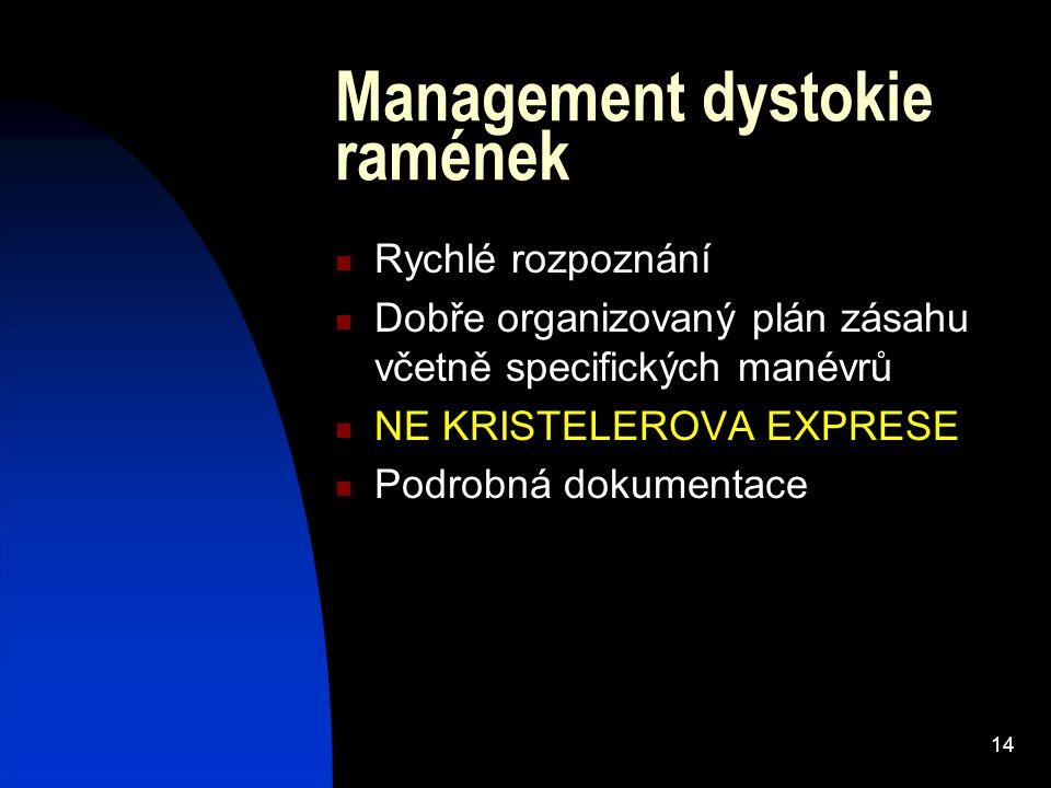 14 Management dystokie ramének Rychlé rozpoznání Dobře organizovaný plán zásahu včetně specifických manévrů NE KRISTELEROVA EXPRESE Podrobná dokumenta