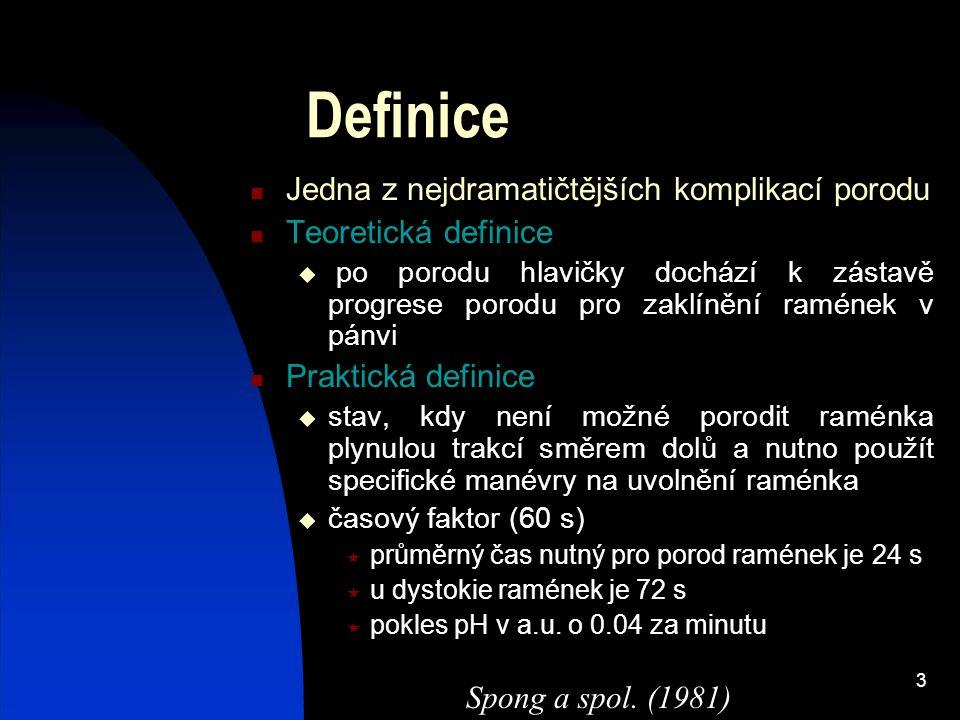 3 Definice Jedna z nejdramatičtějších komplikací porodu Teoretická definice  po porodu hlavičky dochází k zástavě progrese porodu pro zaklínění ramén
