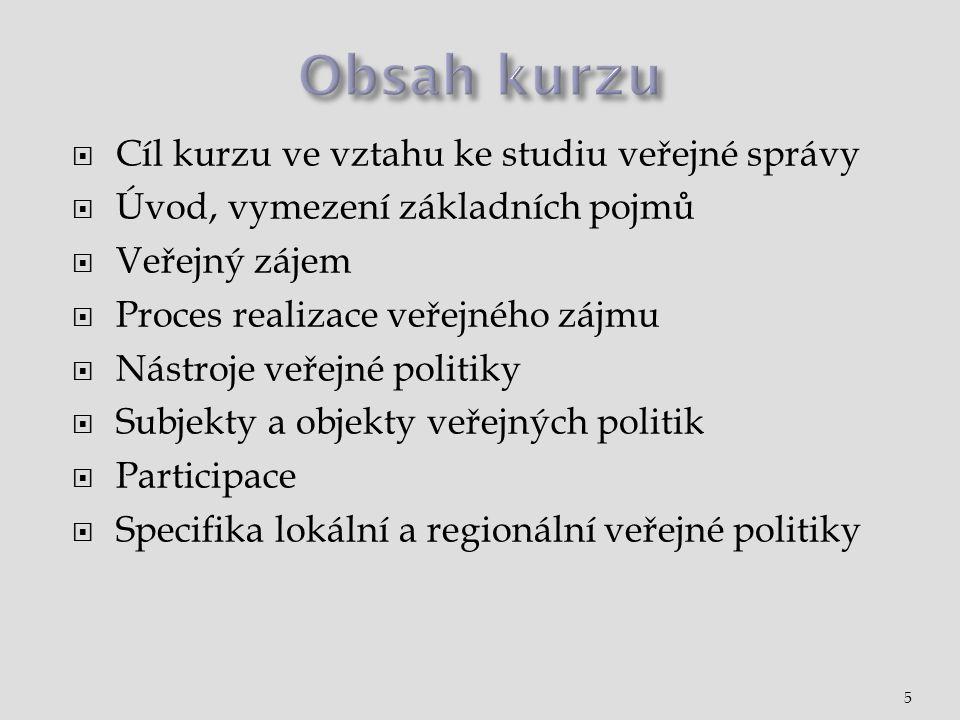  Cíl kurzu ve vztahu ke studiu veřejné správy  Úvod, vymezení základních pojmů  Veřejný zájem  Proces realizace veřejného zájmu  Nástroje veřejné politiky  Subjekty a objekty veřejných politik  Participace  Specifika lokální a regionální veřejné politiky 5