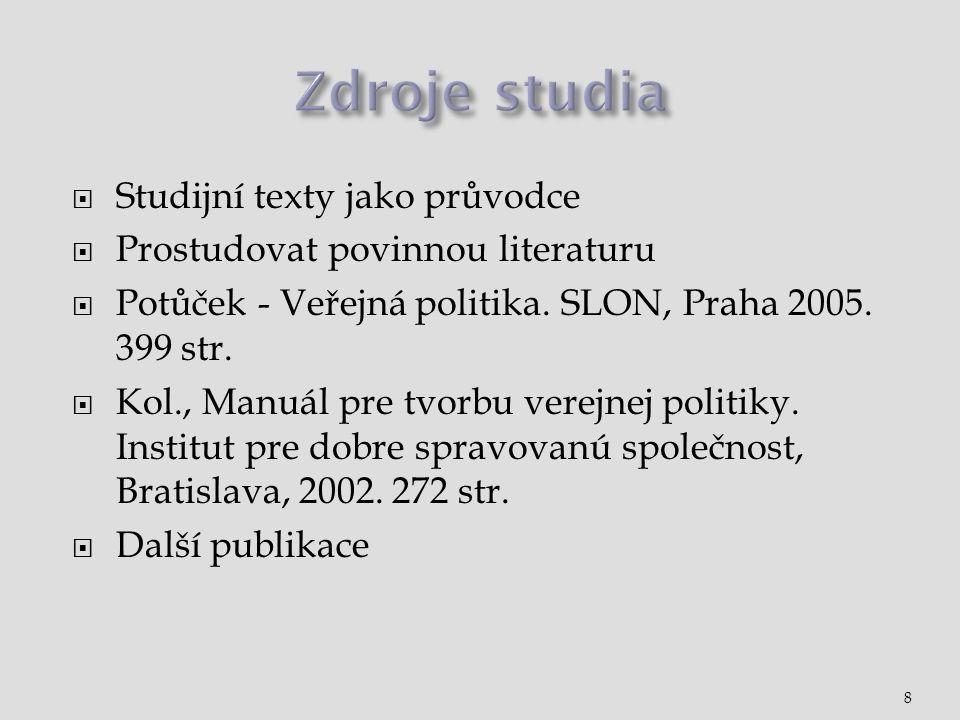  Studijní texty jako průvodce  Prostudovat povinnou literaturu  Potůček - Veřejná politika. SLON, Praha 2005. 399 str.  Kol., Manuál pre tvorbu ve