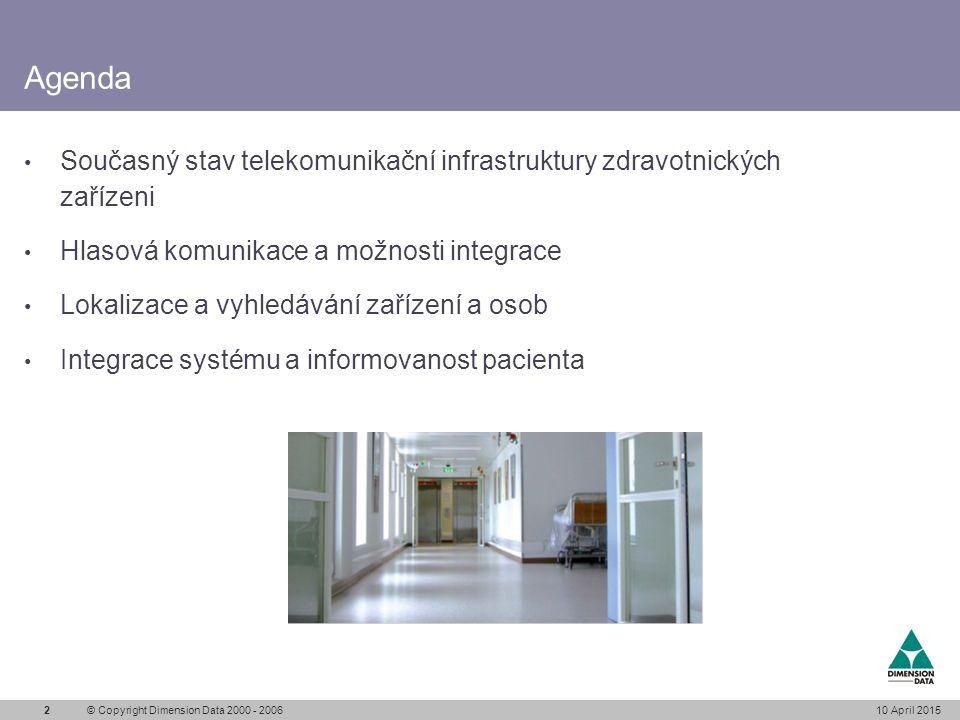 Současný stav telekomunikační infrastruktury Telekomunikační systémy používané ve zdravotnictví Telefonní systémy Paging systémy (vyhledávání osob) Mobilní systémy (přislužby, pohotovosti) Systémy pacient sestra Počítačové sítě Izolovaný svět jednotlivých systému V mnohá případech diskutabilní spolehlivost Jednoúčelové systémy bez integrace 10 April 2015© Copyright Dimension Data 2000 - 20063