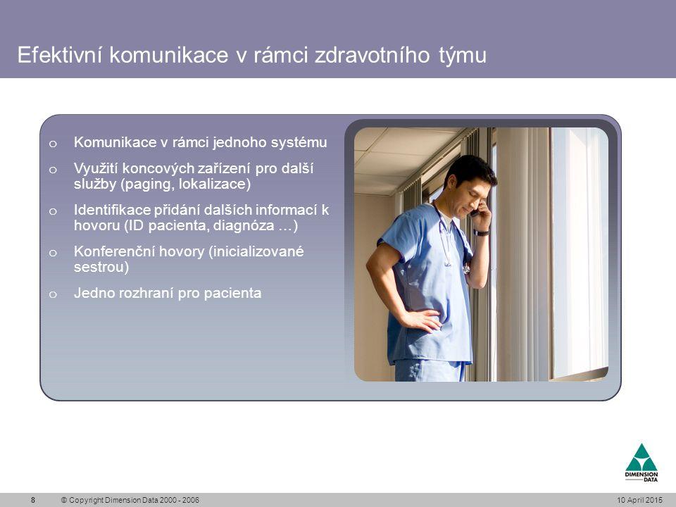 Videokomunikace usnadňuje rozhodování 10 April 2015© Copyright Dimension Data 2000 - 20069 Rozsáhlé systémy lze rozšířit o obrazovou komunikace (mezi nemocniční komunikace) s možnosti integrace zdravotních informací