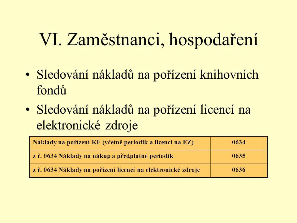 VI. Zaměstnanci, hospodaření Sledování nákladů na pořízení knihovních fondů Sledování nákladů na pořízení licencí na elektronické zdroje Náklady na po