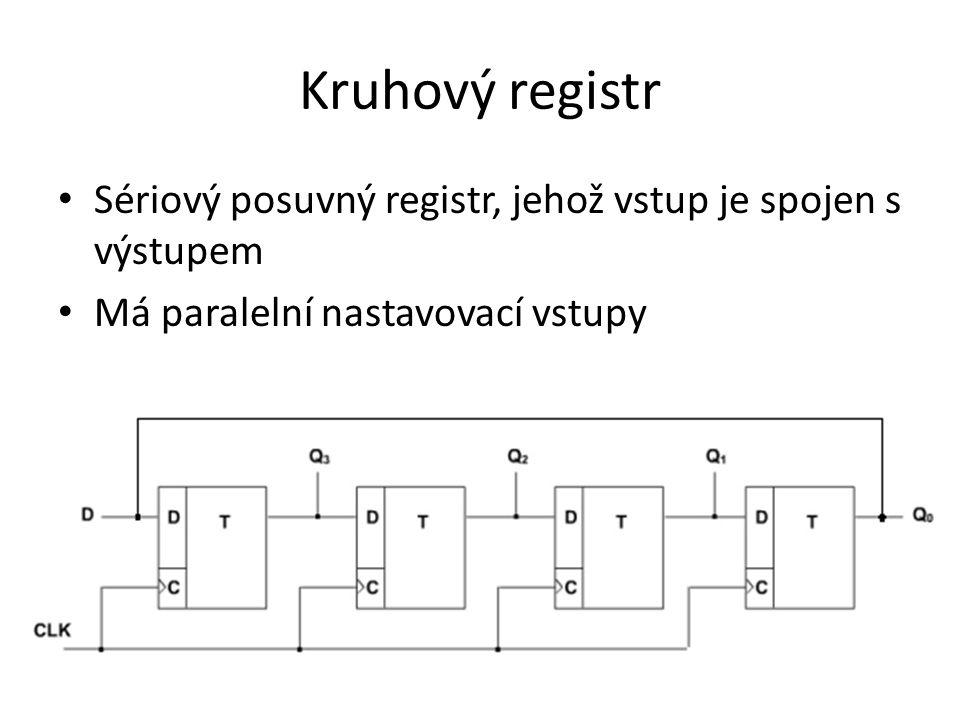Kruhový registr Sériový posuvný registr, jehož vstup je spojen s výstupem Má paralelní nastavovací vstupy