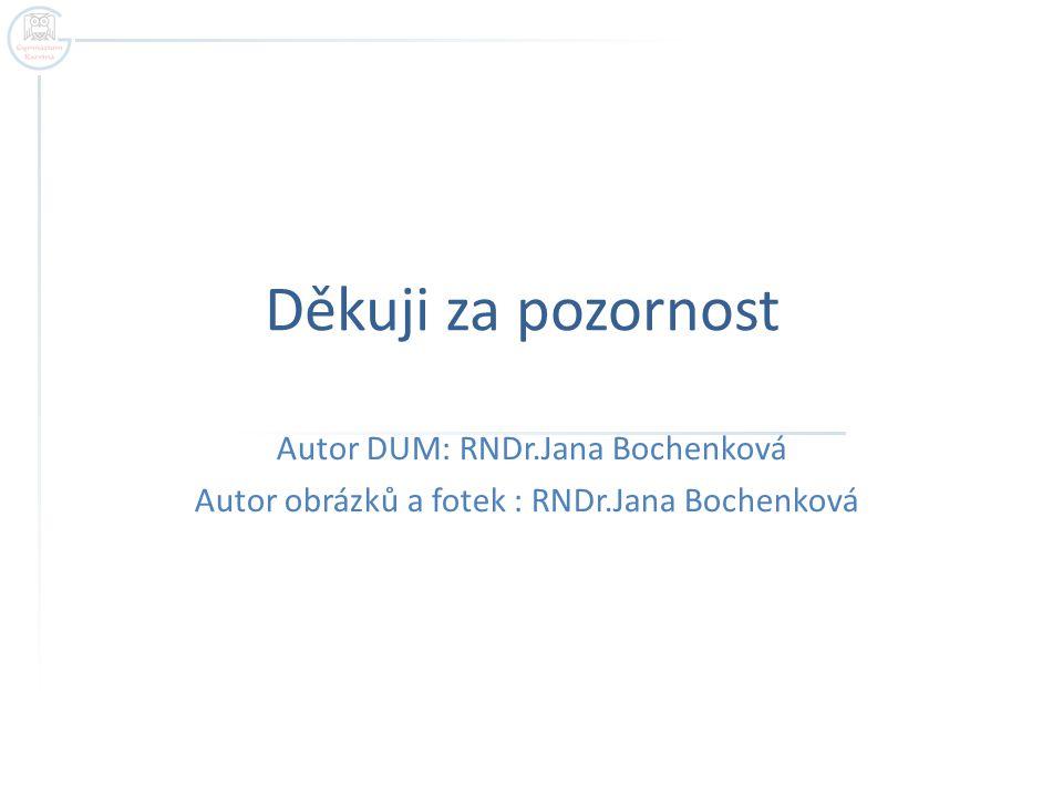 Děkuji za pozornost Autor DUM: RNDr.Jana Bochenková Autor obrázků a fotek : RNDr.Jana Bochenková