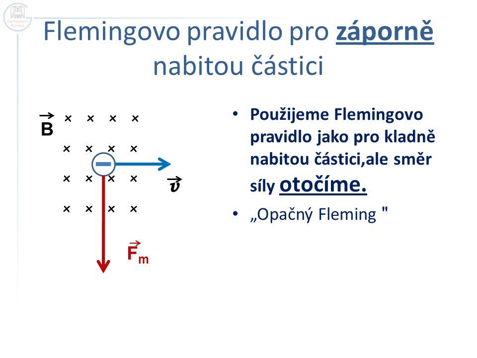 """Flemingovo pravidlo pro záporně nabitou částici x x Použijeme Flemingovo pravidlo jako pro kladně nabitou částici,ale směr síly otočíme. """"Opačný Flemi"""