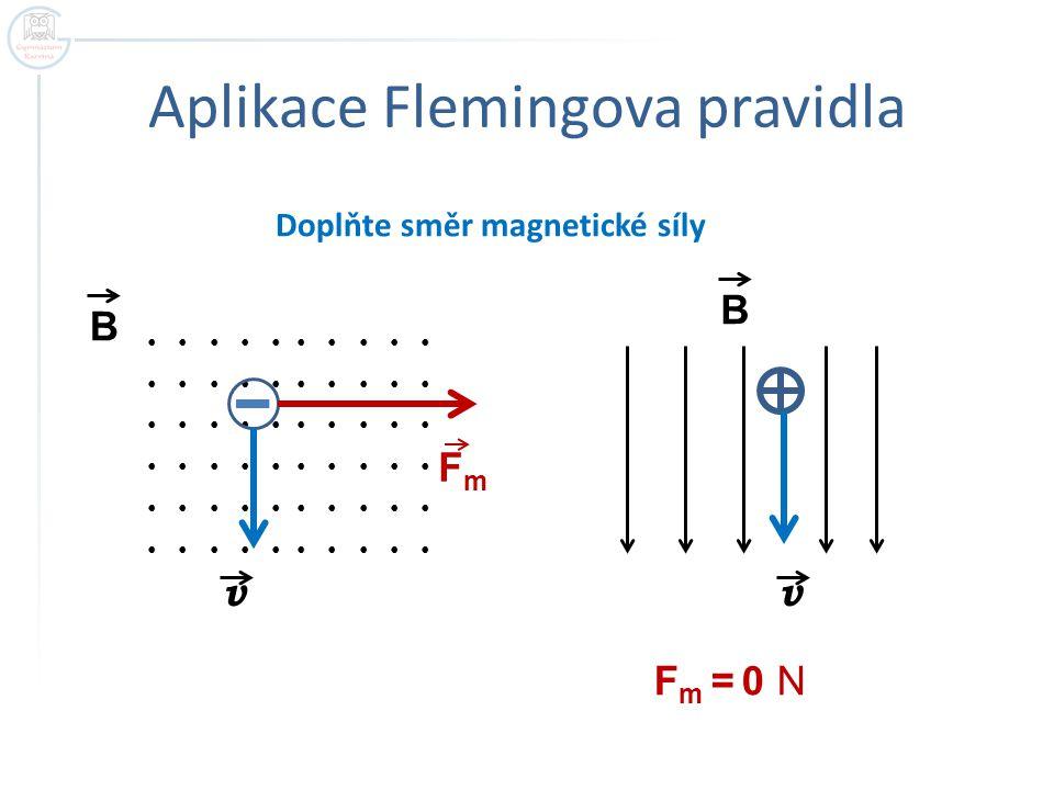 Zakřivení trajektorie  Magnetická síla je kolmá k vektoru okamžité rychlosti  Plní funkci dostředivé síly  Trajektorie pohybu částice je kružnice v FmFm r B - velikost vektoru mag.indukce Q - velikost náboje v - velikost rychlosti m - hmotnost částice r - poloměr křivosti B