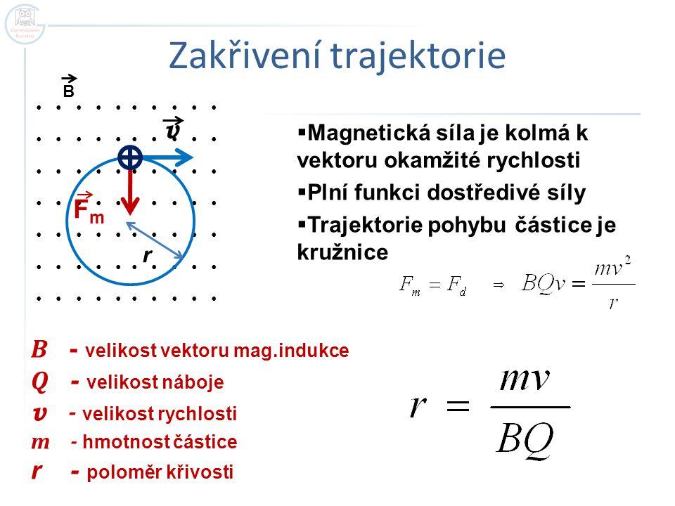 Zakřivení trajektorie  Magnetická síla je kolmá k vektoru okamžité rychlosti  Plní funkci dostředivé síly  Trajektorie pohybu částice je kružnice v