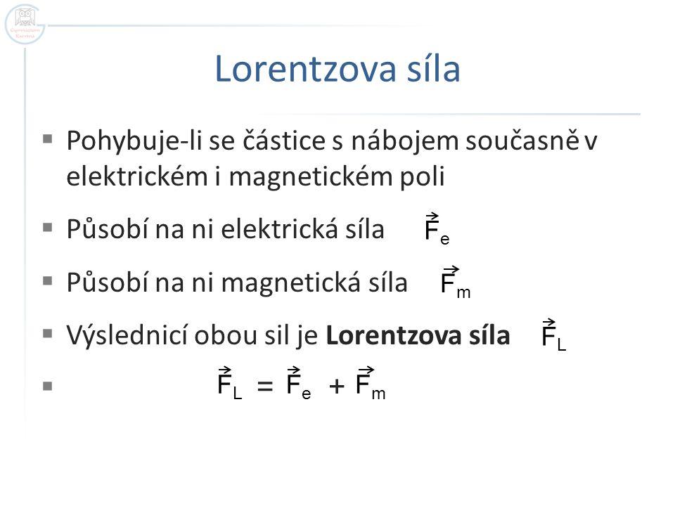Lorentzova síla  Pohybuje-li se částice s nábojem současně v elektrickém i magnetickém poli  Působí na ni elektrická síla  Působí na ni magnetická