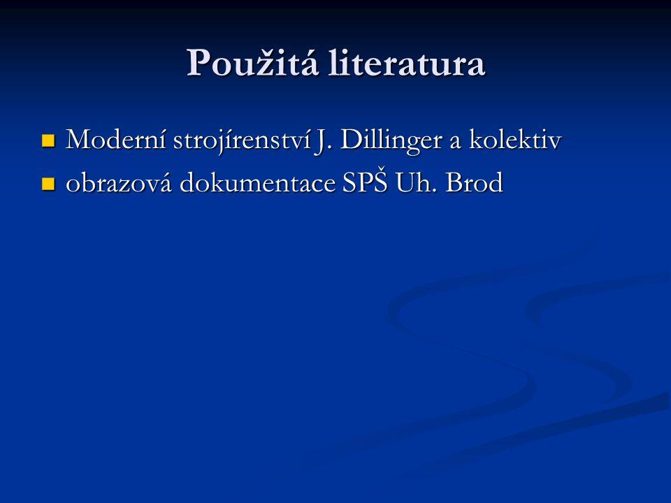 Použitá literatura Moderní strojírenství J. Dillinger a kolektiv Moderní strojírenství J. Dillinger a kolektiv obrazová dokumentace SPŠ Uh. Brod obraz