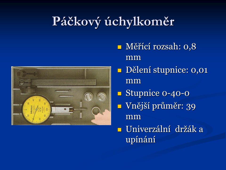 Páčkový úchylkoměr Měřící rozsah: 0,8 mm Měřící rozsah: 0,8 mm Dělení stupnice: 0,01 mm Dělení stupnice: 0,01 mm Stupnice 0-40-0 Stupnice 0-40-0 Vnějš