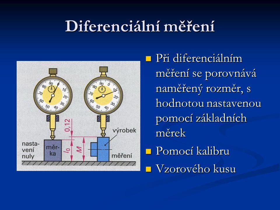 Diferenciální měření Při diferenciálním měření se porovnává naměřený rozměr, s hodnotou nastavenou pomocí základních měrek Při diferenciálním měření s