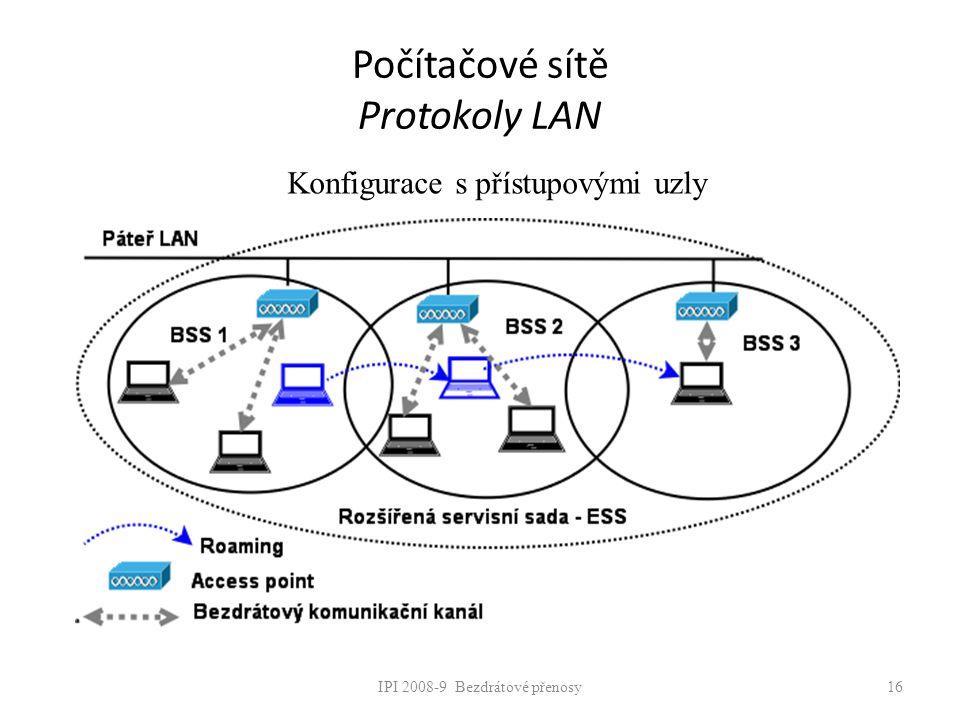 IPI 2008-9 Bezdrátové přenosy16 Počítačové sítě Protokoly LAN Konfigurace s přístupovými uzly