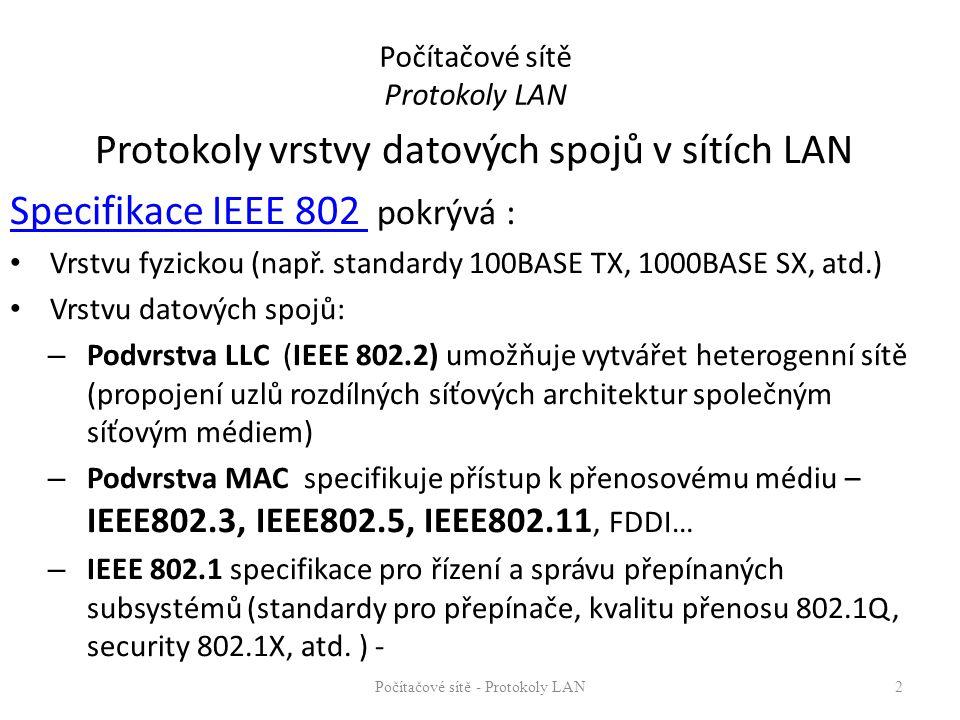 Počítačové sítě Protokoly LAN Protokoly vrstvy datových spojů v sítích LAN Specifikace IEEE 802 Specifikace IEEE 802 pokrývá : Vrstvu fyzickou (např.