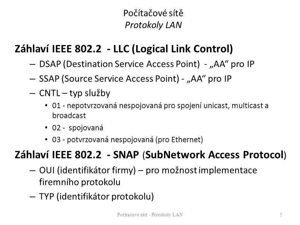 """Počítačové sítě Protokoly LAN Záhlaví IEEE 802.2 - LLC (Logical Link Control) – DSAP (Destination Service Access Point) - """"AA"""" pro IP – SSAP (Source S"""