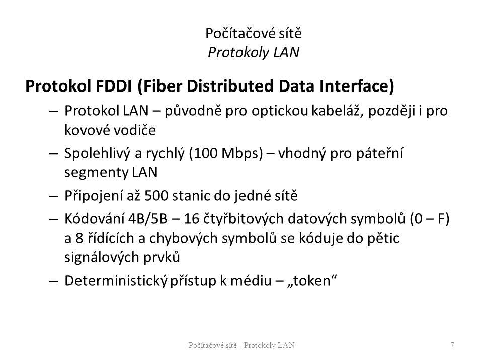 Počítačové sítě Protokoly LAN Protokol FDDI (Fiber Distributed Data Interface) – Protokol LAN – původně pro optickou kabeláž, později i pro kovové vod