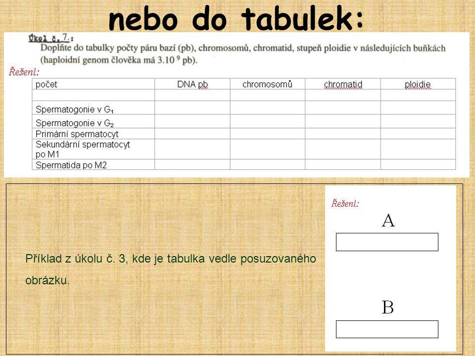 nebo do tabulek: Příklad z úkolu č. 3, kde je tabulka vedle posuzovaného obrázku.