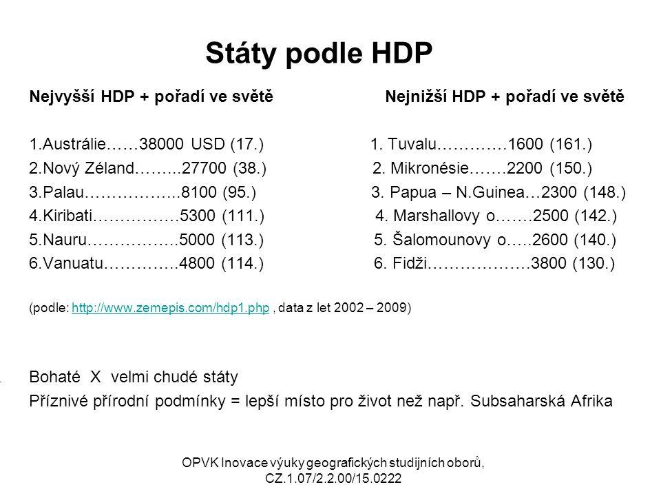 Státy podle HDP Nejvyšší HDP + pořadí ve světě Nejnižší HDP + pořadí ve světě 1.Austrálie……38000 USD (17.) 1. Tuvalu………….1600 (161.) 2.Nový Zéland……..