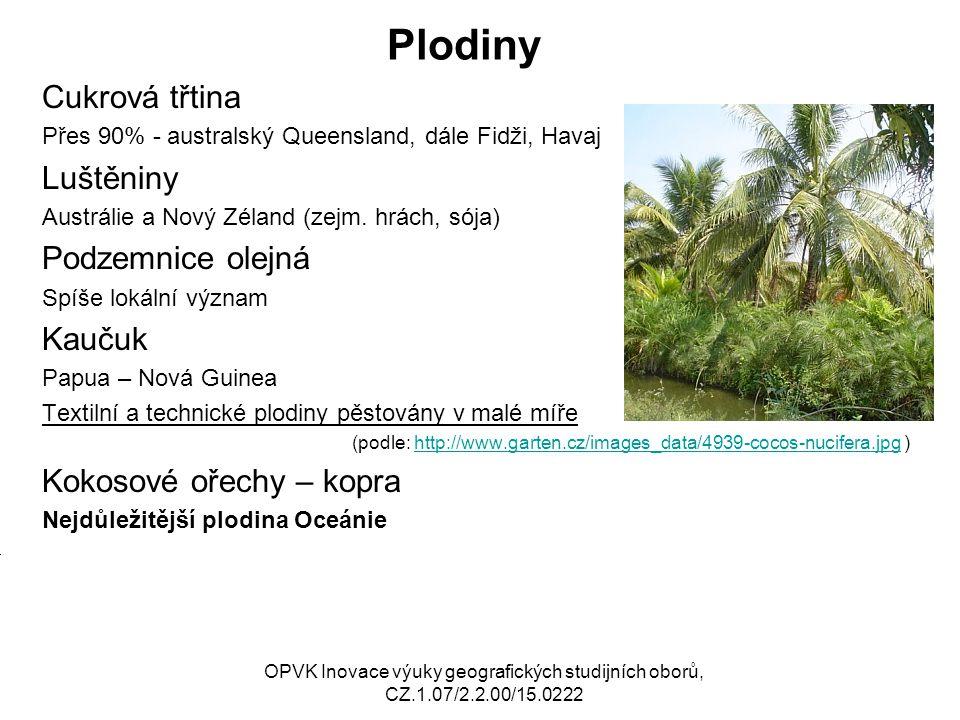 Plodiny Cukrová třtina Přes 90% - australský Queensland, dále Fidži, Havaj Luštěniny Austrálie a Nový Zéland (zejm. hrách, sója) Podzemnice olejná Spí