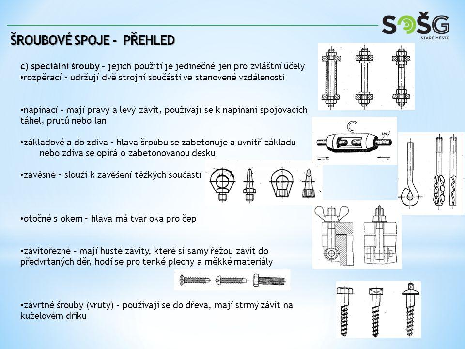 c) speciální šrouby - jejich použití je jedinečné jen pro zvláštní účely rozpěrací – udržují dvě strojní součásti ve stanovené vzdálenosti napínací – mají pravý a levý závit, používají se k napínání spojovacích táhel, prutů nebo lan základové a do zdiva – hlava šroubu se zabetonuje a uvnitř základu nebo zdiva se opírá o zabetonovanou desku závěsné – slouží k zavěšení těžkých součástí otočné s okem – hlava má tvar oka pro čep závitořezné – mají husté závity, které si samy řežou závit do předvrtaných děr, hodí se pro tenké plechy a měkké materiály závrtné šrouby (vruty) – používají se do dřeva, mají strmý závit na kuželovém dříku