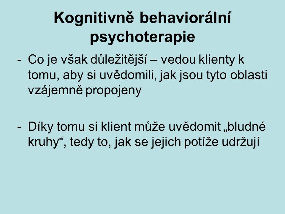 Kognitivně behaviorální psychoterapie -Co je však důležitější – vedou klienty k tomu, aby si uvědomili, jak jsou tyto oblasti vzájemně propojeny -Díky