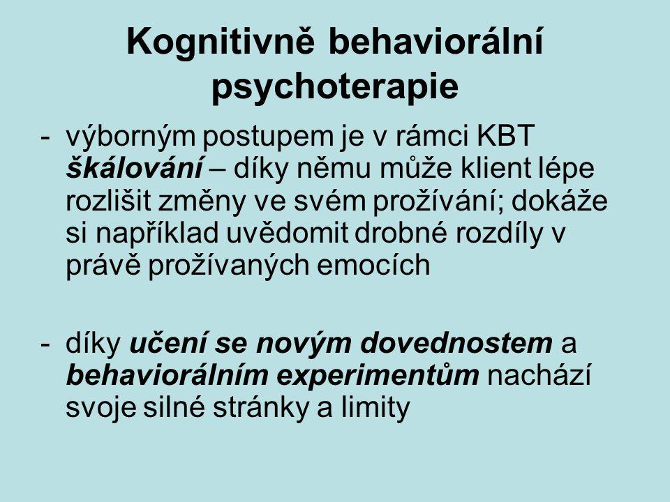 Kognitivně behaviorální psychoterapie -výborným postupem je v rámci KBT škálování – díky němu může klient lépe rozlišit změny ve svém prožívání; dokáž