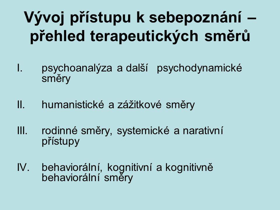 Vývoj přístupu k sebepoznání – přehled terapeutických směrů I.psychoanalýza a dalšípsychodynamické směry II.humanistické a zážitkové směry III.rodinné