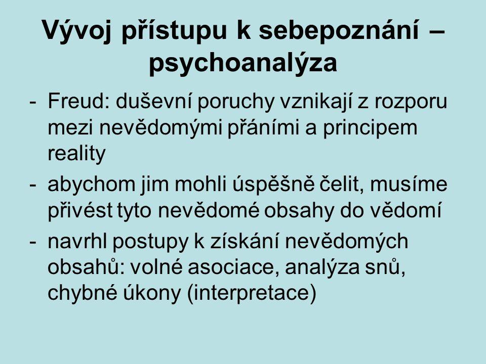 Vývoj přístupu k sebepoznání – psychoanalýza -Freud: duševní poruchy vznikají z rozporu mezi nevědomými přáními a principem reality -abychom jim mohli