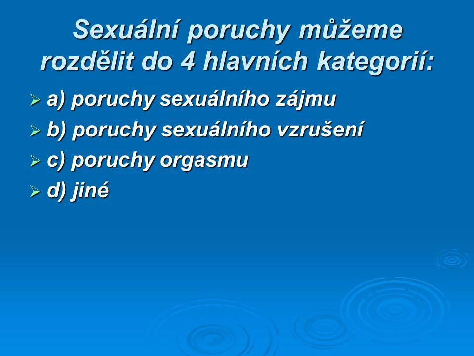  ZÁJEM snížení sexuální zájmu snížení sexuálního zájmu snížení sexuálního zájmu  VZRUŠENÍ snížení vzrušení  VZRUŠENÍ snížení vzrušení porucha erekce porucha erekce  ORGASMUS porucha orgasmu  ORGASMUS porucha orgasmu předčasná ejakulace, opožděná nebo chybějící ejakulace předčasná ejakulace, opožděná nebo chybějící ejakulace