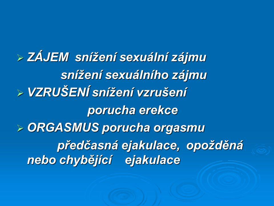  ZÁJEM snížení sexuální zájmu snížení sexuálního zájmu snížení sexuálního zájmu  VZRUŠENÍ snížení vzrušení  VZRUŠENÍ snížení vzrušení porucha erekc