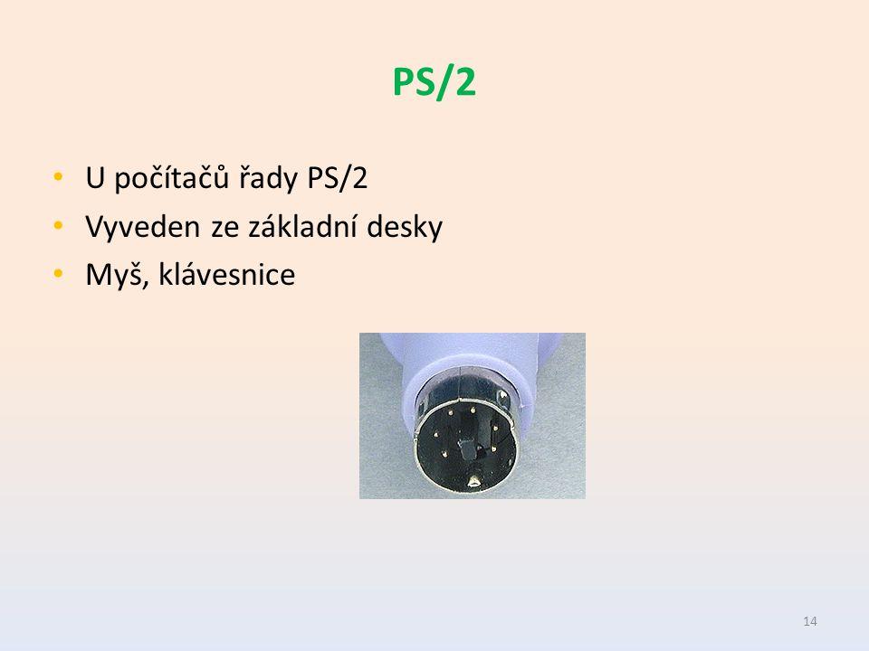 PS/2 U počítačů řady PS/2 Vyveden ze základní desky Myš, klávesnice 14
