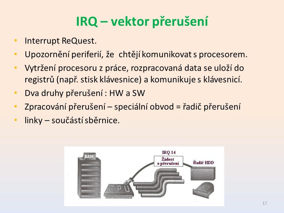 IRQ – vektor přerušení Interrupt ReQuest. Upozornění periferií, že chtějí komunikovat s procesorem.