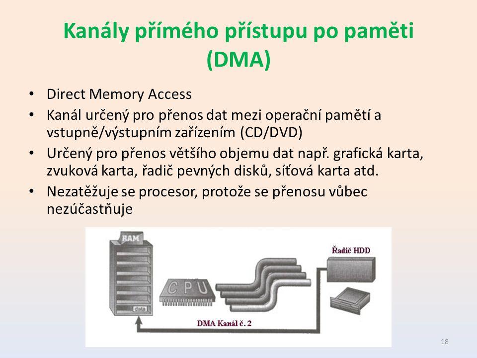 Kanály přímého přístupu po paměti (DMA) Direct Memory Access Kanál určený pro přenos dat mezi operační pamětí a vstupně/výstupním zařízením (CD/DVD) Určený pro přenos většího objemu dat např.