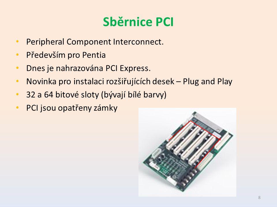 Sběrnice PCI Peripheral Component Interconnect. Především pro Pentia Dnes je nahrazována PCI Express. Novinka pro instalaci rozšiřujících desek – Plug