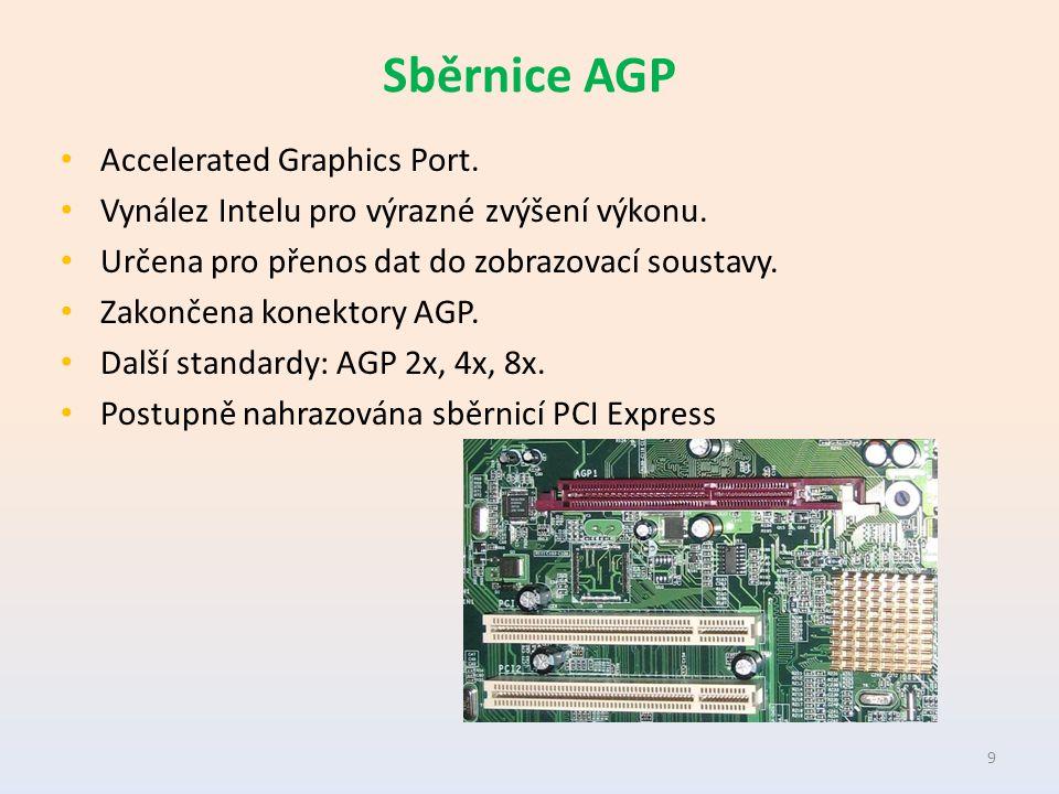 Sběrnice AGP Accelerated Graphics Port. Vynález Intelu pro výrazné zvýšení výkonu.