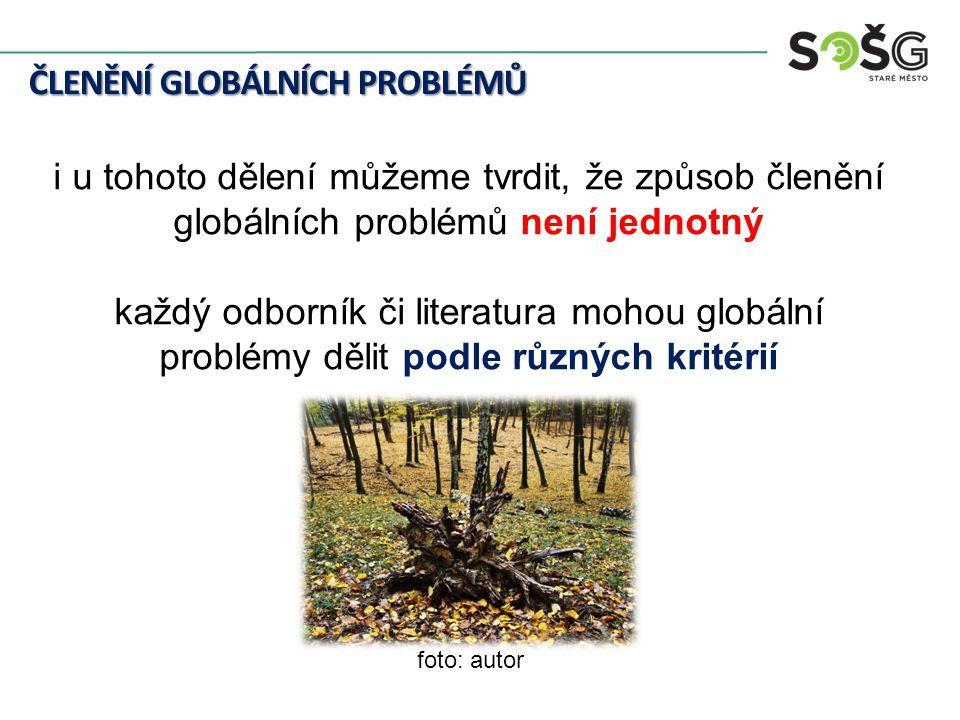 ČLENĚNÍ GLOBÁLNÍCH PROBLÉMŮ i u tohoto dělení můžeme tvrdit, že způsob členění globálních problémů není jednotný každý odborník či literatura mohou globální problémy dělit podle různých kritérií foto: autor
