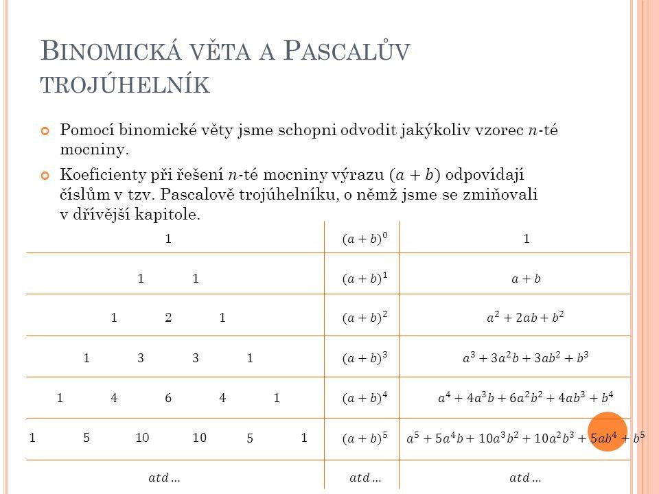 Z předešlé lekce o kombinačních číslech je nám již známo, jakým způsobem koresponduje Pascalův trojúhelník s kombinačními čísly.
