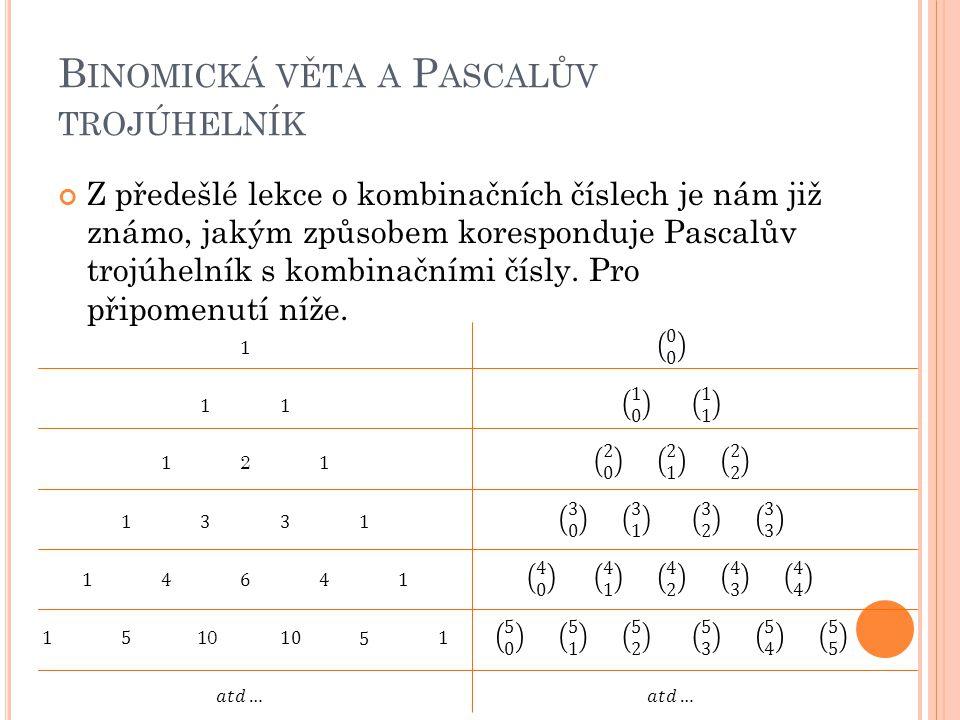 Z předešlé lekce o kombinačních číslech je nám již známo, jakým způsobem koresponduje Pascalův trojúhelník s kombinačními čísly. Pro připomenutí níže.