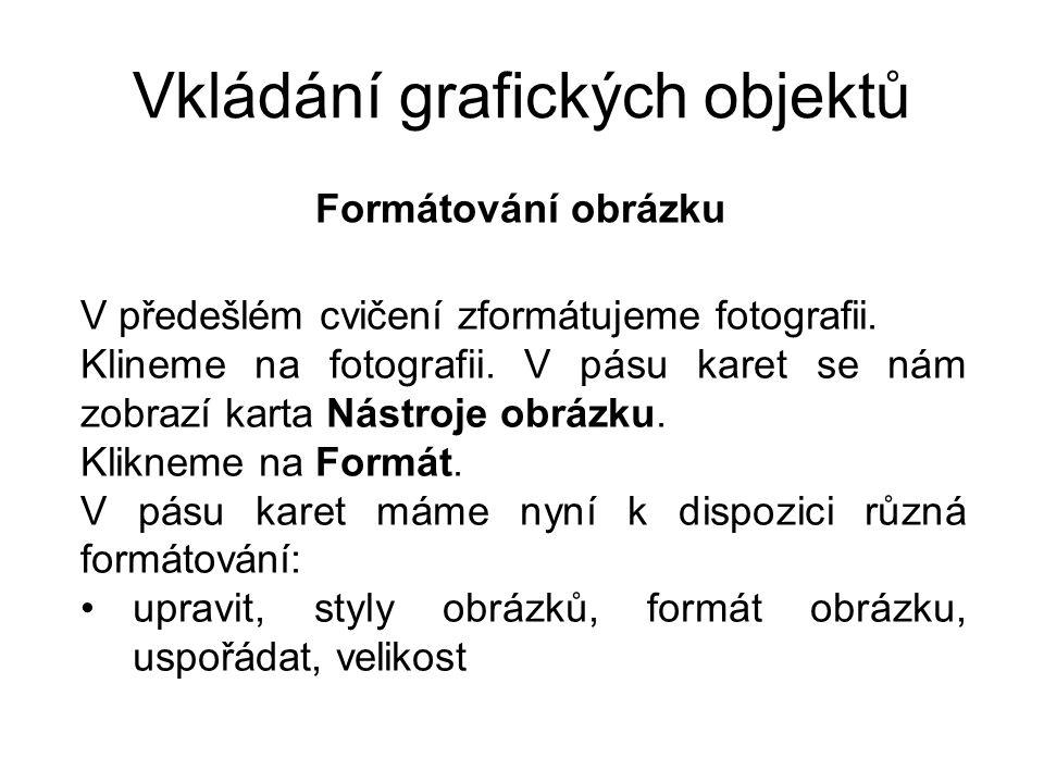 Vkládání grafických objektů Formátování obrázku V předešlém cvičení zformátujeme fotografii.