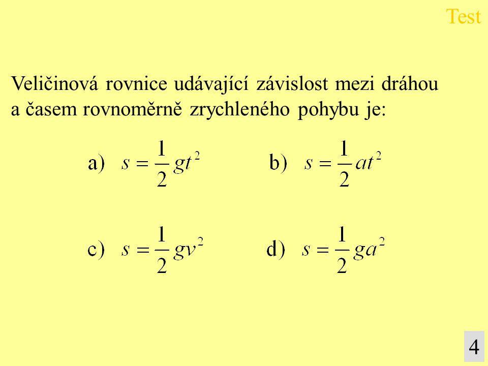 Grafem závislosti dráhy na čase volného pádu je: a) hyperbola, b) přímka, c) parabola, d) úsečka.