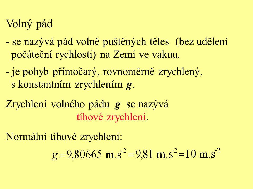 Volný pád - t = 0s - t = 1s - t = 2s - t = 3s Volný pád je rovnoměrně zrychlený pohyb z klidu.