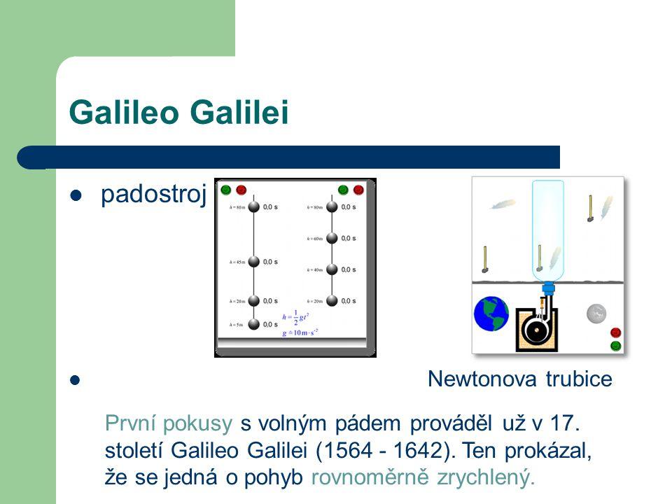 Galileo Galilei padostroj Newtonova trubice První pokusy s volným pádem prováděl už v 17.