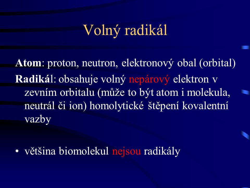 Volný radikál Atom: proton, neutron, elektronový obal (orbital) Radikál: obsahuje volný nepárový elektron v zevním orbitalu (může to být atom i moleku